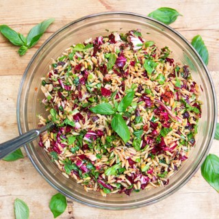 Out Of This World Pasta Salad Recipe: a spectacularly delicious pasta salad with orzo, chopped radicchio, basil, toasted pine nuts, sun dried tomatoes, kalamata olives, balsamic, garlic... perfect for summer picnics and barbecues