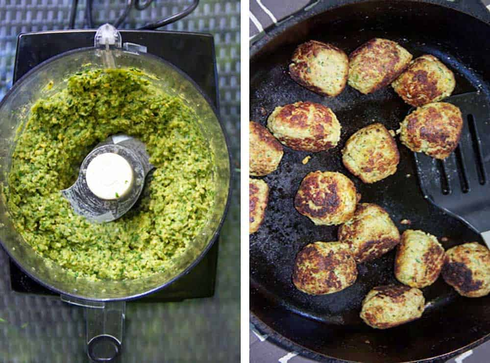 How to make turkey falafel meatballs, pureeing in the food processor and sautéing in a skillet
