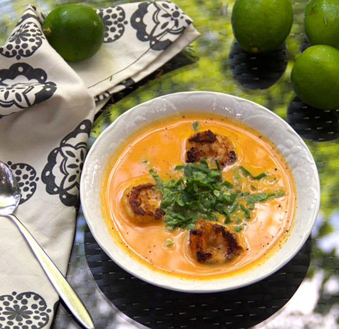 Coconut Sweet Potato Soup with Spice-Crusted Shrimp from Vanuatu | Panning The Globe