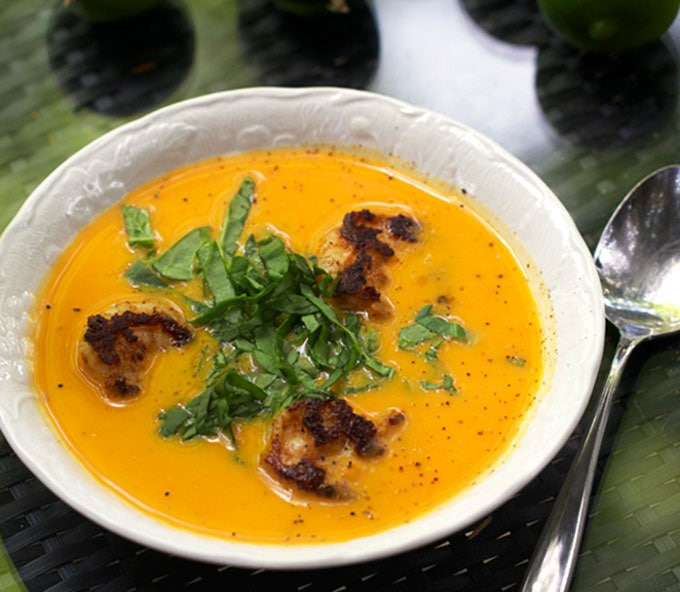 Coconut Sweet Potato Soup with Spicy Shrimp from Vanuatu | Panning The Globe