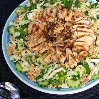 Asian Cabbage Salad with Grilled Chicken and Shiitakes