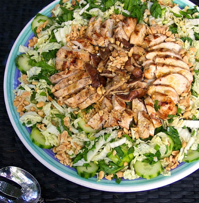 Asian Cabbage Salad with Grilled Chicken and Shiitake Mushrooms
