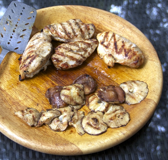 ... salad dressing doubles as a marinade for the chicken and mushrooms