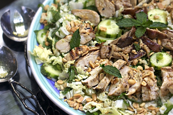 recipe for Asian cabbage salad with grilled chicken and shiitake mushrooms