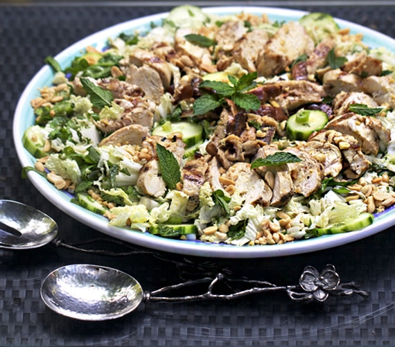 ASIAN CABBAGE SALAD with GRILLED CHICKEN and SHIITAKE MUSHROOMS ...