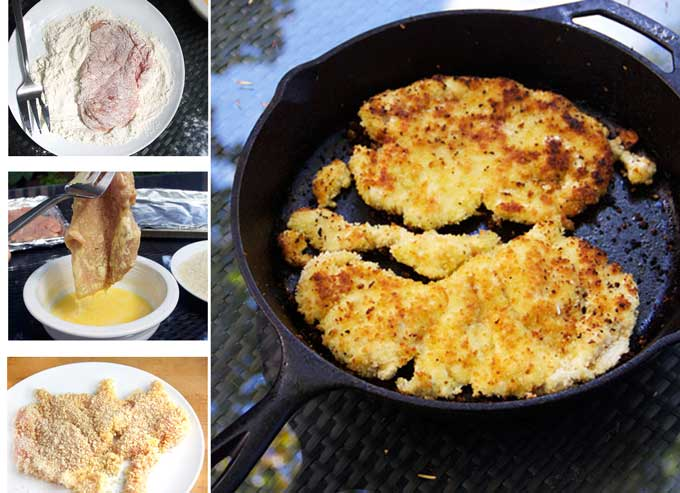 three photos on how to bread chicken for chicken parmesan, first dredge the chicken cutlet in flour, then dip in egg, then coat with bread crumbs, then brown in a skillet.