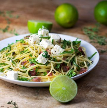 Pasta with Prosciutto, Arugula and Feta • Panning The Globe