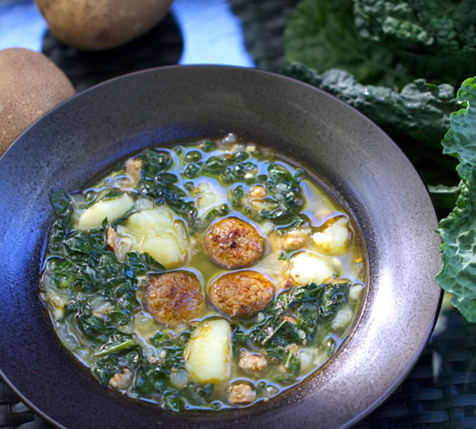 A bowl of Portuguese Sausage Kale Potato Soup