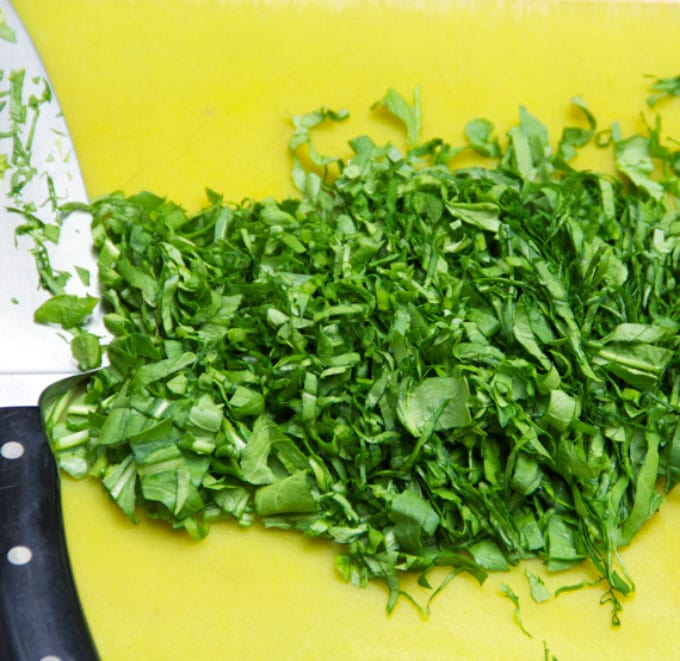 Slivered arugula