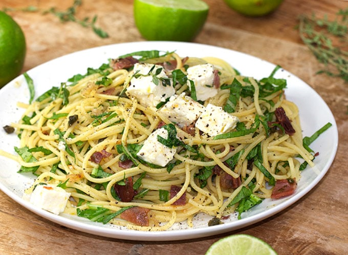 Pasta with Prosciutto, Arugula and Feta