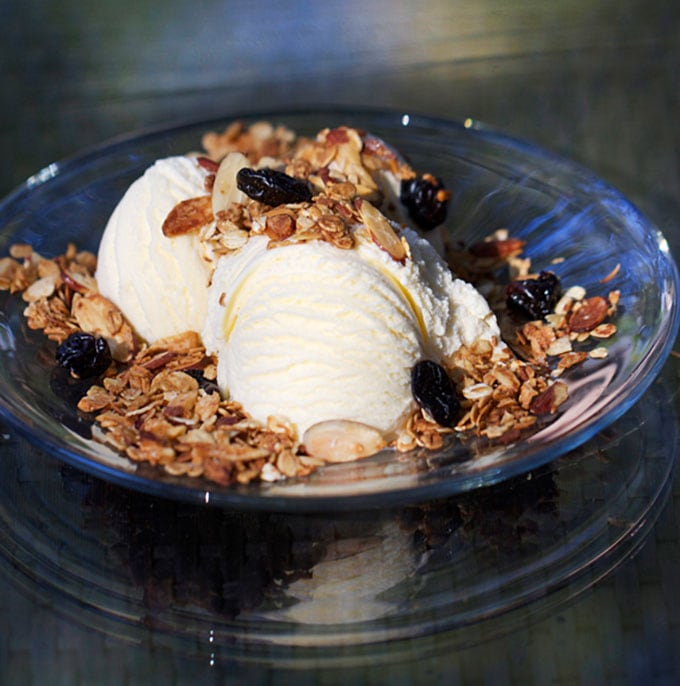 Vanilla Toasted Almond Granola over ice cream