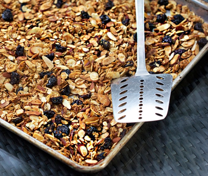 Oven tray of Vanilla Toasted Almond Granola