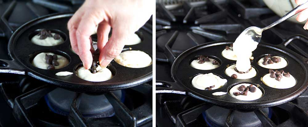 how to make aebleskiver: placing chocolate chips into the batter in an aebleskiver pan to make chocolate stuffed aebleskiver