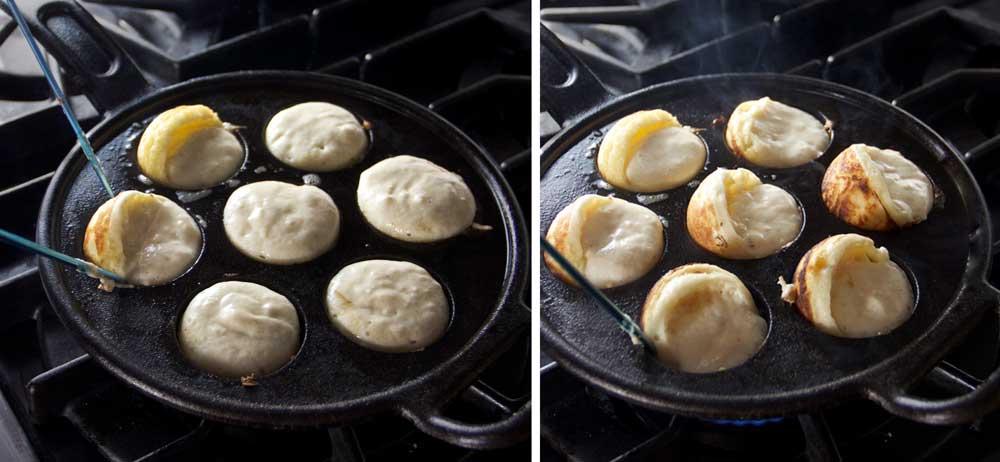 a pair of knitting needles turning the pancake batter in an aebleskiver pan to make pancake balls