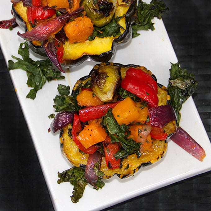 Roasted Squash Stuffed with Roasted Vegetables by Panning The Globe