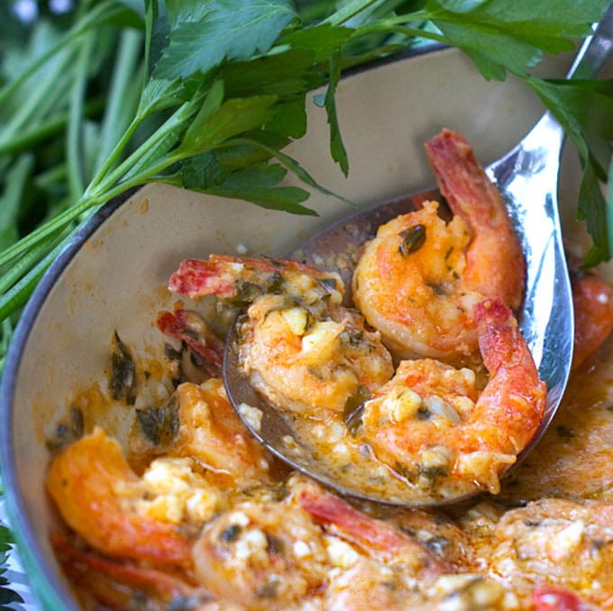 a casserole of garlicky shrimp with feta cheese