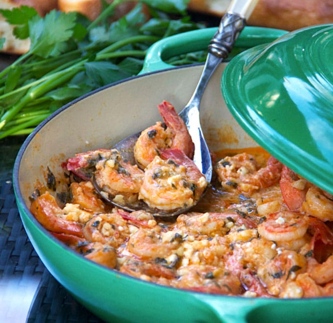 A casserole of shrimp with garlic, feta and spices