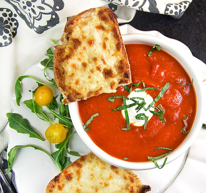 Open faced oven grilled cheese and tomato soup