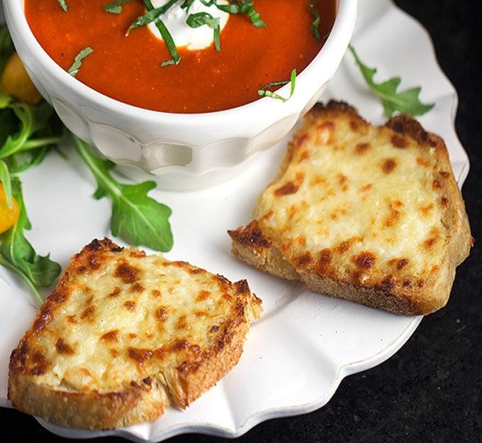 Open faced Grilled cheese with tomato soup