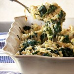 SPAETZLE with CARAMELIZED ONIONS, WILTED GREENS AND GRUYERE