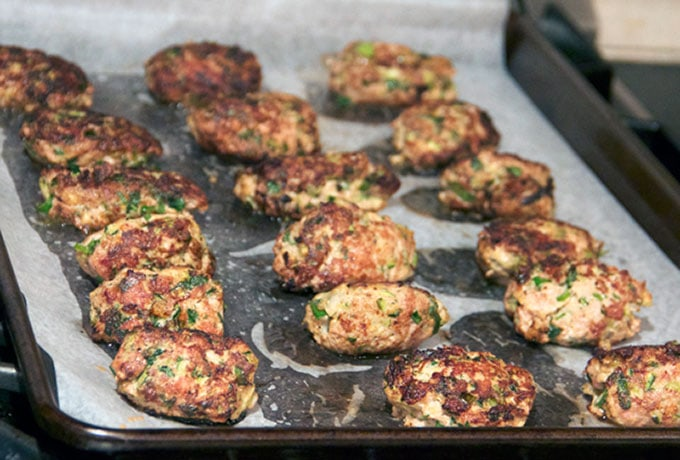 turkey zucchini meatballs ready for the oven