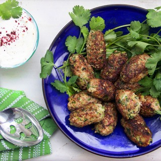 Ottolenghi's amazing turkey zucchini meatballs with lemony yogurt sauce - perfect for dinner or as an appetizer {gluten-free}