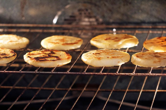 cooking arepas in the oven