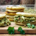 Arepas stuffed with chicken avocado salad
