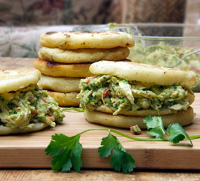 Homemade Venezuelan Arepas with Chicken and Avocado