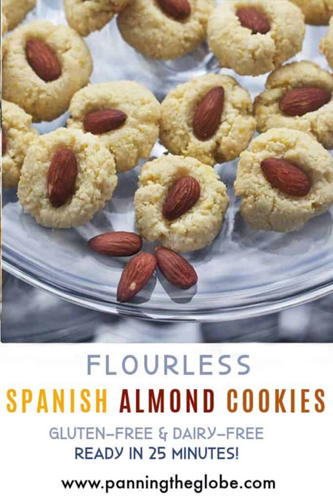 Pinterest pin: flourless almond cookies on a glass dish