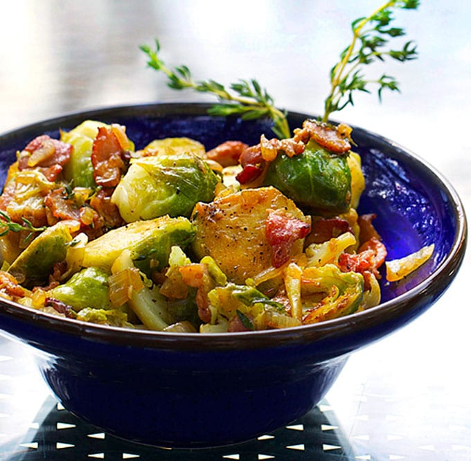 Skillet Brussels Sprouts with Bacon and Sherry