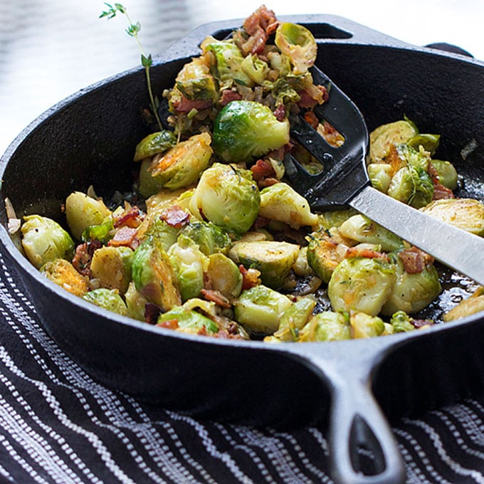 Skillet Brussels Sprouts with Bacon and Sherry - Panning The Globe