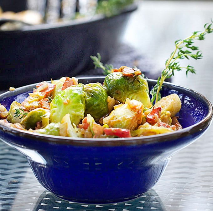 Skillet brussels sprouts: browned and caramelized with bacon, shallots & sherry vinaigrette. This is a stellar dish, a recipe worthy of a special occasion.