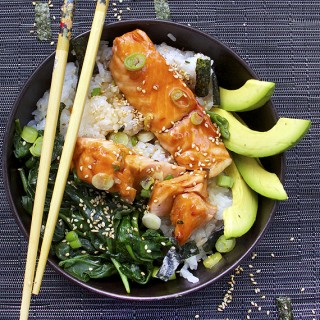 salmon teriyaki rice bowl panning the globe
