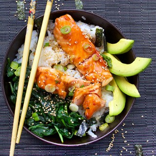 Teriyaki Salmon Rice Bowl with Spinach and Avocado | Panning The Globe