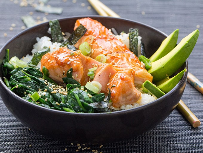 Teriyaki Salmon Rice Bowl with Spinach, Avocado and Sesame-Nori Confetti|Panning The Globe