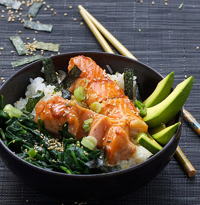 Teriyaki Salmon Rice bowl with Spinach, Avocado and Sesame Nori Confetti