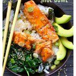 teriyaki salmon rice bowl with spinach, avocado and sesame-nori confetti