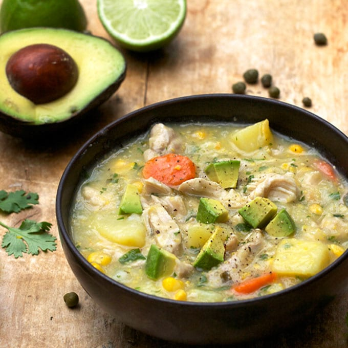 Colombian Chicken Soup with creamy corn-potato broth