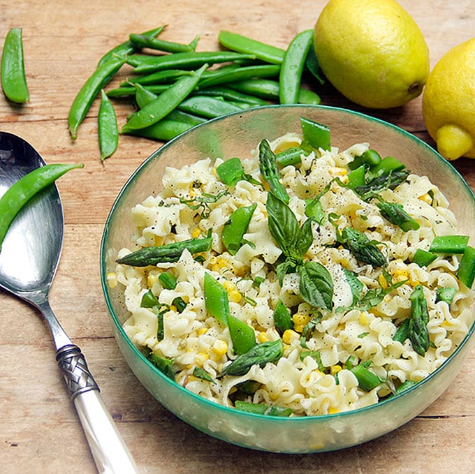 Pasta with asparagus, corn, snow peas and lemony dressing