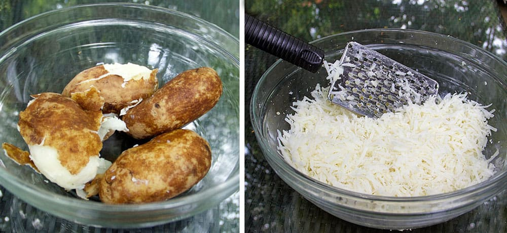 how to make rosti, shredding the potatoes
