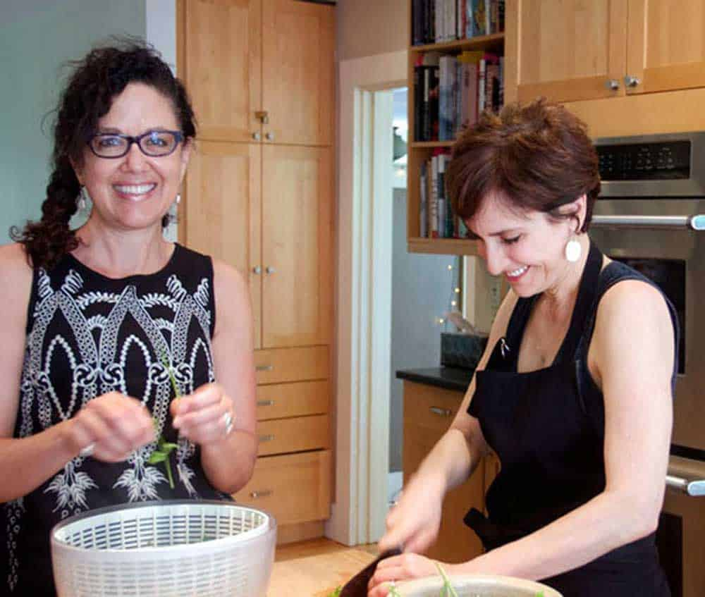 Lisa Goldfinger and Rachel Reid prepare Mexican Chicken with Fruit salsa
