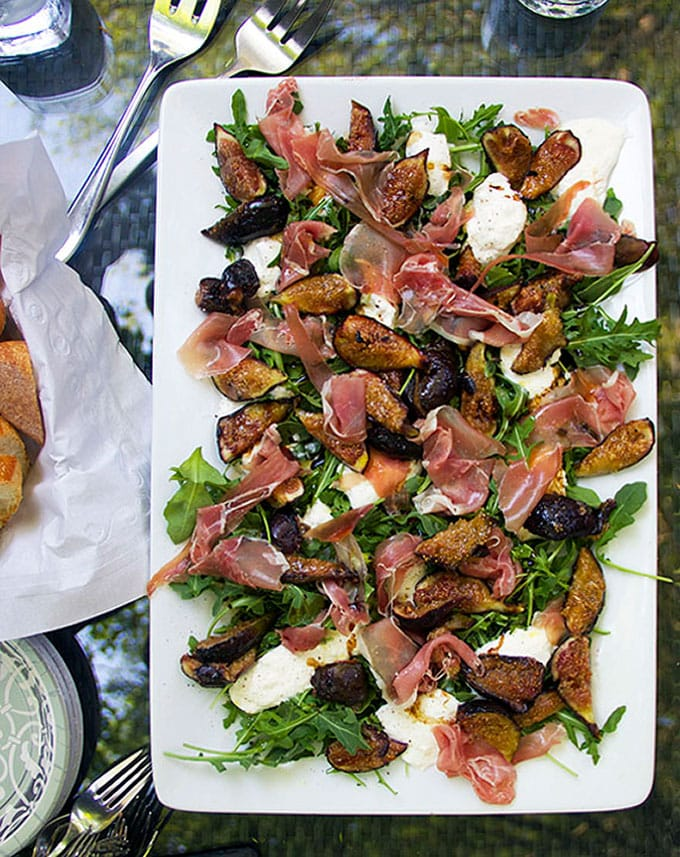 Grilled Figs Prosciutto and Burrata Appetizer by Panning The Globe