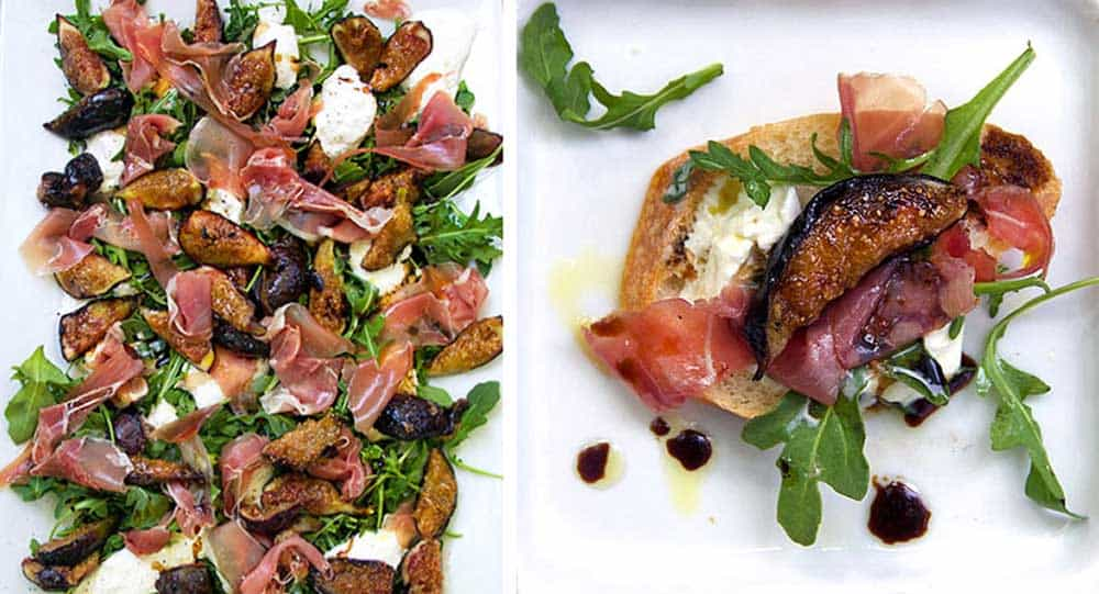 two ways to serve grilled figs, prosciutto and burrata appetizer: on a big platter, as bruschetta on a slice of baguette