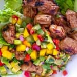 Chunks of Mexican chicken with nectarine salsa