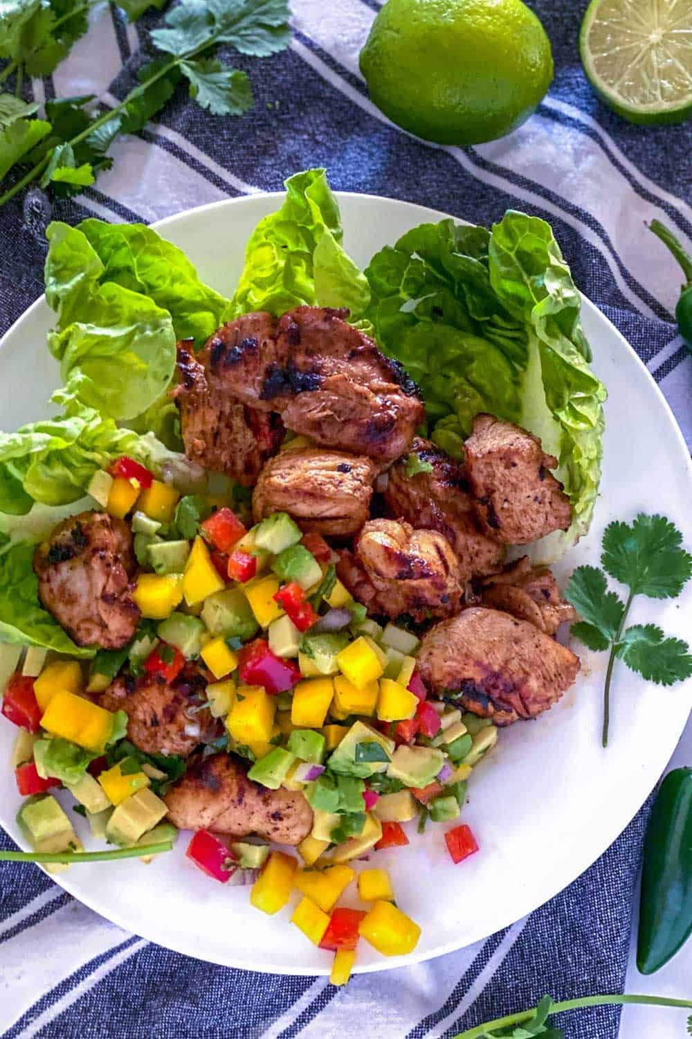 white plate with lettuce leaves topped with pieces of grilled Mexican chicken topped and fruity nectarine salsa