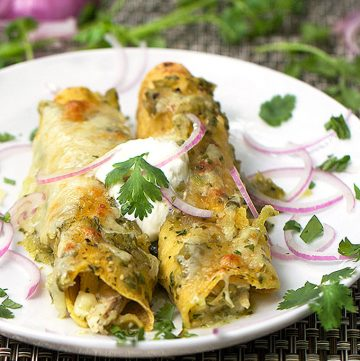 Chicken Enchiladas Verdes is a beloved Mexican recipe but it's the roasted tomatillo salsa that takes it over the top! Chicken, cheese, corn tortillas + roasted tomatillo sauce = super delicious!   panningtheglobe.com