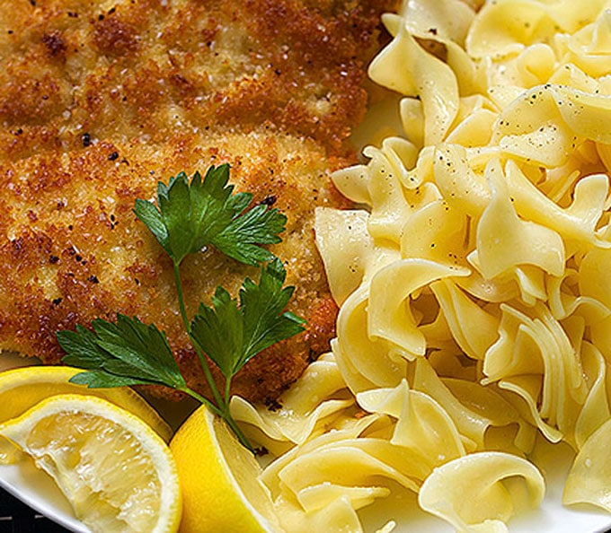 Chicken Schnitzel with noodles, recipe by Panning The Globe