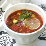 CHILLED TOMATO SOUP with AVOCADO and LIME