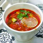 No-Cook Cold Tomato Soup with Avocado and Lime Juice